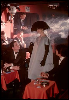 Givenchy dress at Crazy Horse Saloon, for Jardin des Modes, Paris | From a unique collection of figurative photography at https://www.1stdibs.com/art/photography/figurative-photography/