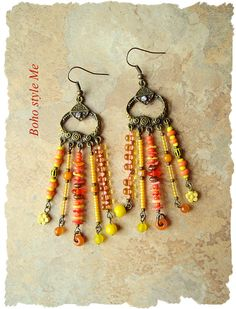 Boho Gypsy Chandelier Earrings Assemblage Earrings Sunny