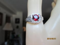 Vintage Estate Deco Solid 925 Sterling Silver .85ct Natural Red Garnet Filigree Ring Sz. 7, Wt. 3 Grams