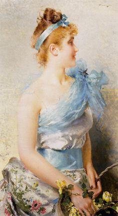 Vittorio Matteo Corcos (1859-1933)  A Spring Beauty 1888