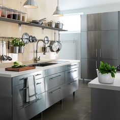 Planning your new fitted kitchen couldn't be easier with our range of kitchen cabinets, appliances and worktops. From sleek modern finishes to timeless shaker door fronts, there is a style for everyone. Create your dream kitchen today with IKEA. Steel Kitchen Cabinets, Kitchen Gallery, Metal Kitchen, Industrial Kitchen Design, Kitchen Remodel, Kitchen Design, Kitchen Inspirations, Kitchen Interior, Kitchen Cabinets