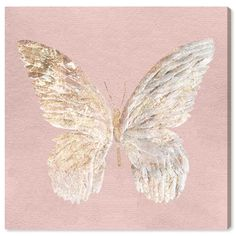 Wild Animals 'Golden Butterfly Glimmer Blush' Graphic Art Print East Urban Home Canvas Art Prints, Canvas Wall Art, Fine Art Prints, Wall Collage, Butterfly Wallpaper, Butterfly Art, Butterflies, Butterfly Painting, Rose Gold Aesthetic