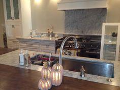 Bianco Carrera and wood kitchen island