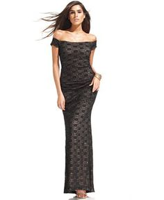 Alex Evenings Off-The-Shoulder Sequin Lace Gown - Dresses - Women - Macy's