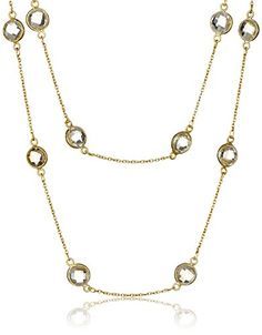 Gold Over Sterling Silver 2 Row Nested Citrine Round Bezel Station Necklace 1719 ** Click image to review more details.