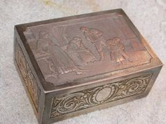 French antique 19th century Jewelry  box Casket solid copper have engraved gravure noble family  music wood ornate box signed sculpture