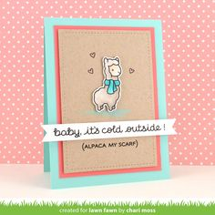 Lawn Fawn - Winter Alpaca, Stitched Rectangle Stackables,  _ sneak week card by Chari for Lawn Fawn Design Team