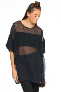 Half Sleeve Voile Splicing T-Shirt