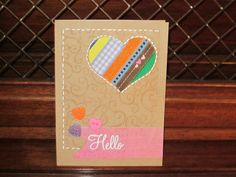 "Just a ""Hello"" card - wanted to try ribbon piecing."