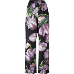 Dolce & Gabbana tulip print twill pyjama pants (1,776 CAD) ❤ liked on Polyvore featuring pants, black, stretch waist pants, loose pants, twill trousers, elastic waist twill pants and wide-leg pants