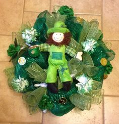 St'Patricks deco mesh wreath