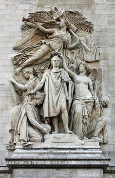 The Triumph of 1810. frieze decorating the Arc de Triomphe. Jean Pierre Cortot. French.  1787-1843. erected by Napoleon in 1836 to proclaim the glory of France.