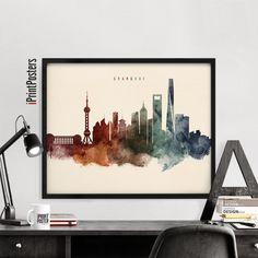 Shanghai poster Shanghai skyline print China by iPrintPosters