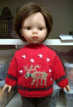 Knitting For Kids, Knitting Projects, Tricot Baby, Pull Crochet, Baby Born, Knitted Dolls, Baby Dolls, Christmas Sweaters, Doll Clothes