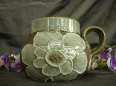 Ceramic Mug with Flowers in Sky Blue and Black Mountain Sally Anne Stahl @ www.clayshapergallery.com