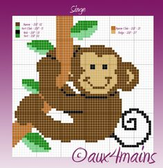 Monkey hama perler pattern by aux4mains