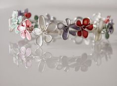 My own version of nail polish flowers bracelet!