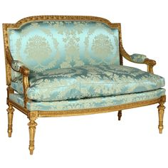 French Giltwood, Louis XVI Style Settee | From a unique collection of antique and modern settees at https://www.1stdibs.com/furniture/seating/settees/