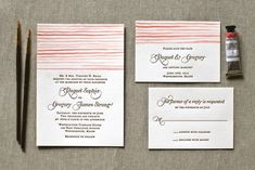 Watercolor Letterpress Wedding Invitations from The Aerialist Press