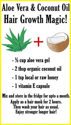 Did you know that you can use aloe vera and coconut oil for hair growth! Make a magical hair growth mix with them and see your hair flourish! Aloe vera and coconut oil are both powerful hair growth boosters. Aloe vera is made up of nutrients such as gluco Natural Beauty Tips, Natural Hair Styles, Natural Hair Type Chart, Natural Hair Growth Tips, Coconut Oil Hair Growth, Diy Coconut Oil Hair Mask, Hair Growth Treatment, Damaged Hair Treatment, Bald Spot Treatment