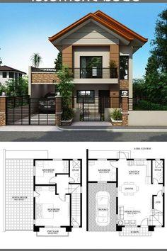 Modern House Floor Plans, Simple House Plans, Simple House Design, House Front Design, Modern House Design, Modern Houses, Two Story House Design, 2 Storey House Design, Bungalow House Design