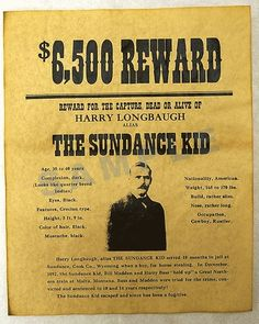 Wanted Poster for The Sundance Kid