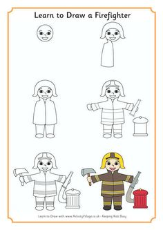 draw firefighter learn drawing easy step fire cartoon drawings activityvillage fighter simple children way firefighters tutorials steps beginners tutorial cartoons
