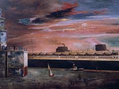 Franz Radziwill — Die Mole - Hafeneinfahrt mit der Bremen, 1930.
