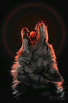 Blood Moon Rising #fantasy wolf art