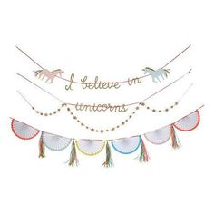 This Whimsical Unicorn Garland will add a Magical touch to your Party!  It features two darling unicorns in pastel colors, with gold glitter, pinwheels, stars and ribbon embellishments.