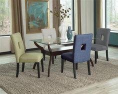 Andenne Wood Beveled Glass Fabric Bottom Shelf Dining Room Set