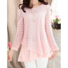 $16.51 Ladylike Scoop Neck Solid Color Lace Splicing Chiffon Long Sleeve Blouse For Women