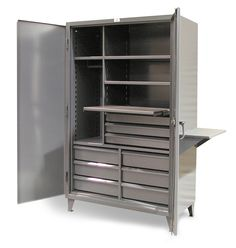 Tool Work Center - 12 Gauge heavy duty work center with 9 drawers. Includes vise shelf on right side. Hanger rod, and 4 shelves. 3-point locking device can be locked with a standard padlock.