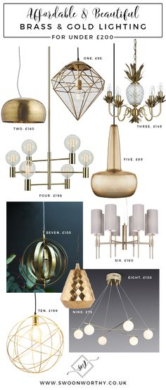 Affordable Brass and Gold Lighting under £200