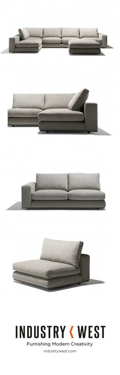 """The Amalfi Sofa, new to Industry West through our collaboration with Pure Home Furniture, is the epitome of comfort and high design while still being versatile and mobile. This sectional features two separate love seats, a floating side chair, and a floating ottoman. The floating side chair can be configured to turn the sofa into a large """"L"""" shape sofa, placed in to the middle to create a love five seater sofa, or used as separate seating all together."""
