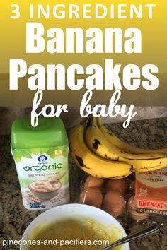 3 Ingredient Baby Pancakes for Self Feeding Banana pancakes for babies and toddlers. Three ingredient baby pancakes are great for baby self-feeding and baby-led weaning (BLW). Baby First Foods, Baby Finger Foods, Baby Led Weaning First Foods, Toddler Meals, Kids Meals, Toddler Food, Meals For Babies, Baby Meals, Toddler Recipes