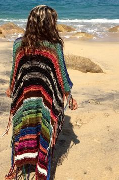 "LONG Handknit Womens Bohemian Festival  Hippie Beach Poncho Cape Shawl (""For Stefania"")"
