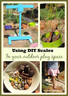 DIY Equipment for Outdoor Play – Balance Scales Building and using wooden scales in an outdoor playspace – a great diy resource for play for daycare, family day care and early learning fun