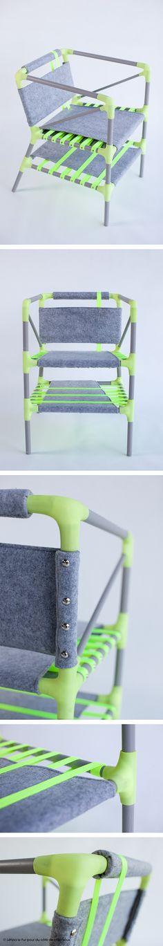 Néo-pop ! Du fluo pour les sangles et les noeuds, du gris pour les tourillons peints et la feutrine. Effet graphique immédiat ! #dccv #diy #drolesdoiseaux #fauteuil #chair #wool #sweet #cocoon #design #home #deco #fluo #pop #neo