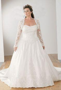 Plus Size Satin Lace Sweetheart Neckline With Long Sleeve Jacket Wedding Dress Bridal