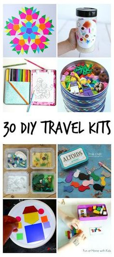 30+ Simple and Easy DIY Travel Kits for Kids. Great for vacations - road trips, plane trips, etc - but also great for entertaining kids in waiting rooms and restaurants.