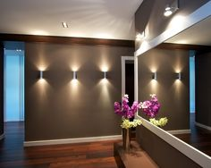 Wall lights/sconces in basement home theater Flur Design, Hall Design, Lobby Design, Corridor Design, Basement Lighting, Home Lighting, Track Lighting, Sconce Lighting, Lighting Ideas Bedroom