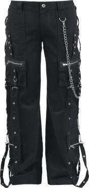 """- chains & buckles - zipper - leg pockets  These pants have silver coloured zippers, chains and rings. Wash separately during the first wash.  The black """"Rebelpant"""" trousers by Alcatraz are not only the perfect companion for all creatures of the night, but also for steampunks and people who just are into the style. We love these trousers! The many chains, buckles and zippers make for an extraordinary style. The leg pockets round the whole thing off nicely."""
