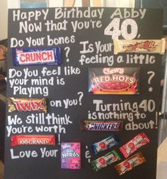 Candy Bar Poster for a Birthday Birthday Candy, 40th Birthday Parties, 70th Birthday, Birthday Presents, Happy Birthday, 50th Party, Birthday Board, Funny Birthday, Birthday Pizza