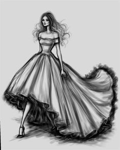Fashion dress sketches black and white. Dress Design Drawing, Dress Design Sketches, Fashion Design Sketchbook, Fashion Design Drawings, Dress Drawing, Drawing Clothes, Fashion Sketches, Wedding Dress Sketches, Drawing Style