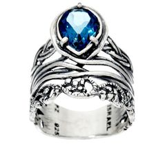 Sterling Silver Pear Shaped 1.00 ct Gemstone Band Ring by Or Paz
