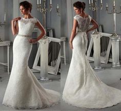 2016 Lace Mermaid Wedding Dresses Sheer Crew Neck Short Sleeves Beads Belt Bow Sash Button Covered Back Sweep Train Bridal Gowns Online with $182.47/Piece on Angelia0223's Store | DHgate.com