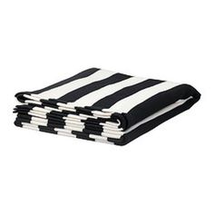 IKEA EIVOR THROW-black/white wide stripe thick knit blanket/throw - NEW!