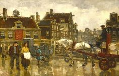 Frans Langeveld , Amsterdam Prins Hendrikkade bij Haarlemmerstraat.(1903) Cut out section and fill it with a black and white photo of whzt it looks like now