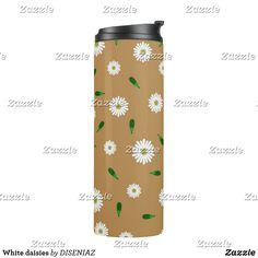 Shop White daisies thermal tumbler created by DISENIAZ. Brown Floral, Custom Tumblers, White Shop, Earth Tones, Daisies, Travel Mug, Colorful Backgrounds, Create Your Own, Water Bottle